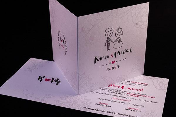 Invitación de boda díptico